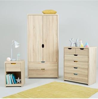 Aspen 3 Piece Package - 2 Door, 2 Drawer Wardrobe, 4 + 2 Chest and Bedside Chest - Oak Effect