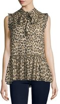 Kate Spade Leopard-Print Tie-Neck Chiffon Top W/ Metallic
