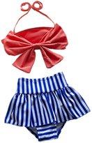 CuteOn Baby Toddler Girls Swimwear Bowknot Bikini Swimsuit Bikini & Skirt & Hat