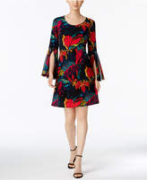 MSK Printed Bell-Sleeve Dress