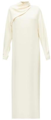 The Row Vali Draped-neck Cady Maxi Dress - Cream