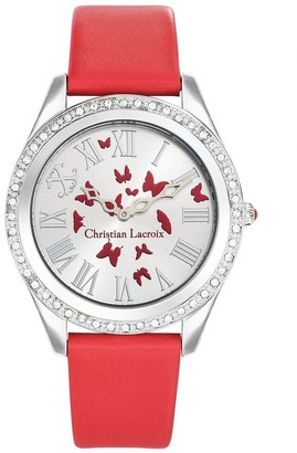 Christian Lacroix Womens Analogue Quartz Watch with Leather Strap CLWE32