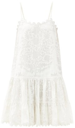 Juliet Dunn Scalloped Palladio Block-print Cotton Dress - White