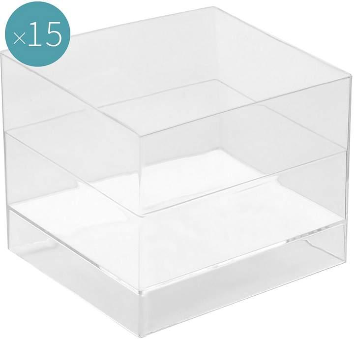 clear Gold Plast Cube Plastic Dessert Bowl (Set of 15),