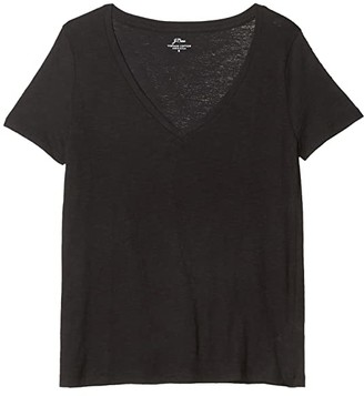 J.Crew Vintage Cotton V-Neck Tee (Black) Women's T Shirt