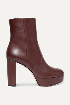 Gianvito Rossi Leather Platform Ankle Boots - Burgundy
