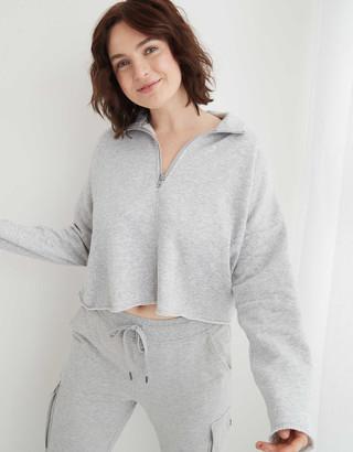 aerie Sunday Soft Cropped Quarter Zip Sweatshirt