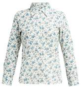 D'Ascoli Tabriz Floral-print Cotton Shirt - Womens - Blue Print