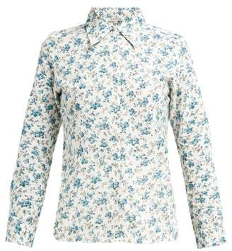 D'Ascoli Tabriz Floral-print Cotton Shirt - Womens - Blue Print