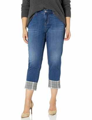 Jag Jeans Women's Plus Size Carter Girlfriend Jean w/Plaid Cuff