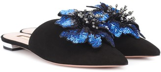 Aquazzura Disco Flower suede slippers