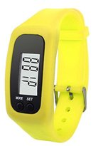 Unisex Fashion Digital LCD Pedometer,Ninasill Run Step Walking Distance Calorie Counter Watch Bracelet(Yellow)