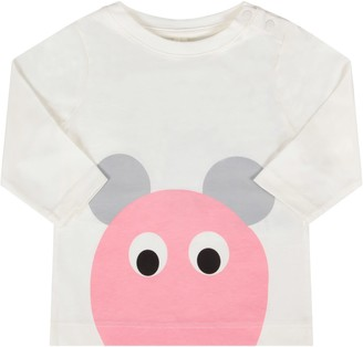 Stella McCartney Ivory Babygirl T-shirt With Pink And Grey Mouse