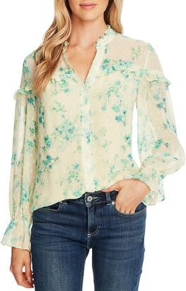 CeCe Breezy Bouquet Clip Dot Long Sleeve Blouse