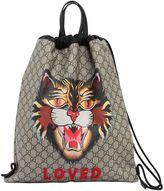 Gucci Angry Cat Gg Supreme Drawstring Bag