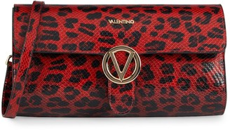 Mario Valentino Mabelle Animalier Leopard Leather Clutch Shoulder Bag