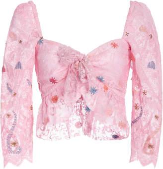 LoveShackFancy Kennon Floral Cotton Lace Crop Top