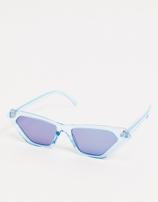 ASOS DESIGN cat eye sunglasses in metallic blue with blue flash lens