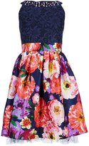 Xtraordinary Big Girls 7-16 Lace-To-Floral Fit-And-Flare Dress