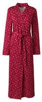 Lands' End Women's Petite Supima Cotton Print Robe-Cherry Jam Snowflake