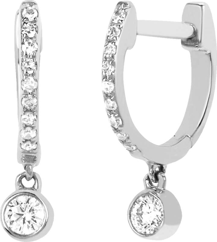 Ef Collection Diamond Bezel Drop Mini Huggie Earrings
