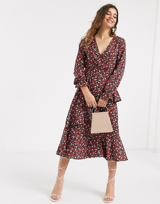 Outrageous Fortune ruffle front shirred sleeve midi dress in rose ditsy print