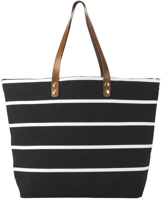 Cathy's Concepts Black Striped Carryall Bag