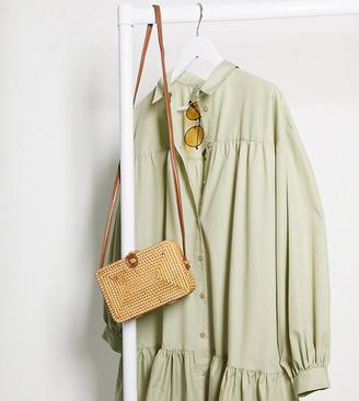 ASOS DESIGN Tall trapeze mini oversized shirt dress in light khaki