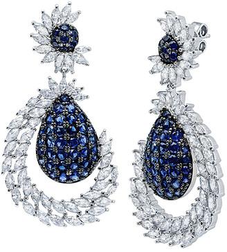 Crislu Silver & Platinum Cz Drop Earrings