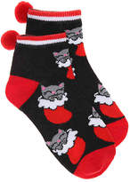 Girls Stocking Cats Toddler & Youth Ankle Socks -Black/Red