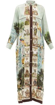 F.R.S For Restless Sleepers F.R.S – For Restless Sleepers Galene Coastal-print Hammered-silk Dress - Womens - Light Blue