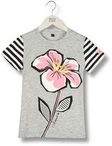 Armani Junior Flower Print Jersey T-Shirt With Striped Sleeves