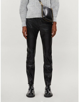 Claudie Pierlot Paname high-rise tapered faux-leather jeans