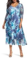 Komarov Plus Size Women's Print Charmeuse & Chiffon A-Line Dress