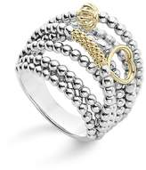 Lagos 18K Gold and Sterling Silver Domed Caviar Bead Multi Row Ring
