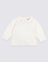 Marie Chantal Marie-chantal Cotton Rich Jersey Collar Top