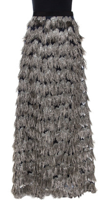 Max Mara Grey Metallic Jacquard Tinsel Fringed Maxi Skirt M