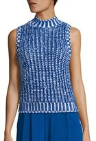 Alice + Olivia Tomi Sleeveless Textured Two-Toned Sweater
