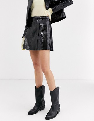 Muu Baa Muubaa Macodes patent leather snake print skirt