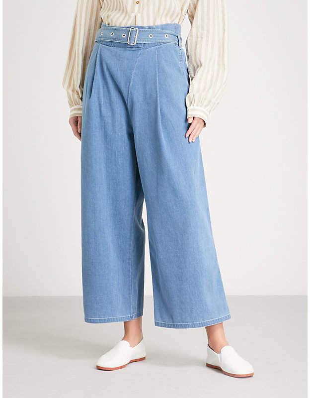 J Brand Fashion Via belted wide-leg stretch-cotton trousers