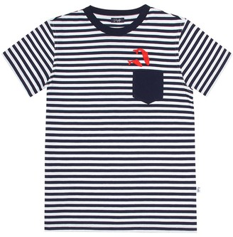 Il Gufo Embroidered striped cotton T-shirt