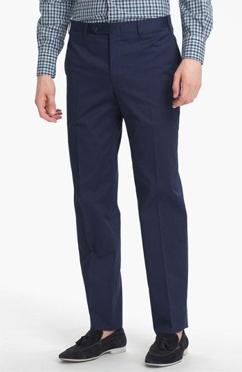 Canali Flat Front Trousers Blue 52R EU