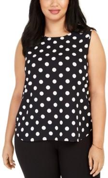 Anne Klein Plus Size Dot-Print Tank Top