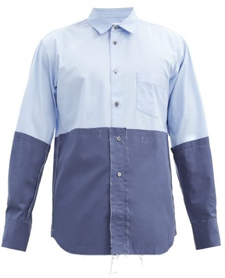 Comme des Garçons Shirt Two-tone Distressed Cotton-poplin Shirt - Blue