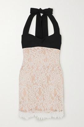 Rasario Lace And Crepe Halterneck Mini Dress - White
