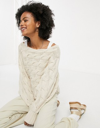Selected cable knit jumper in cream