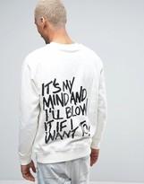 Hero's Heroine Heros Heroine Sweatshirt In White With Graffiti Back Print