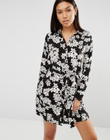 Club L Printed Floral Shirt Dress