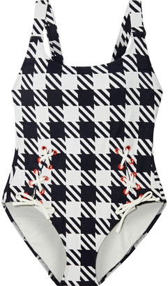 Solid & Striped The Raquel Lace-up Gingham Swimsuit