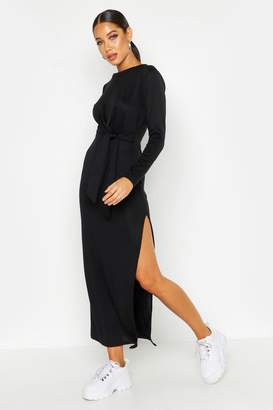 boohoo Jersey Knitted Side Knot Maxi Dress